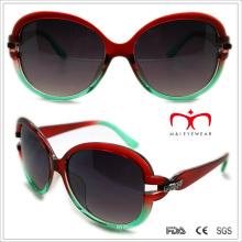 Plástico senhoras óculos de sol com metal e Rhinestore decoração (wsp508320)