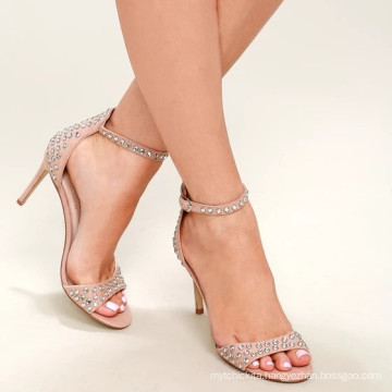 STARSHINE HIGH SANDALS DARK NUDE RHINESTONE ANKLE STRAP HEELS