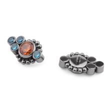 Titanium Stacked Beaded CZ Bezel Cluster Gem Micro Dermal Anchor Top Body Jewelry