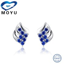 2015 wholesale pure 925 sterling silver blue cz leaf earring