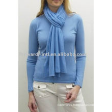 Ladies' 100% worsted cashmere long ribbed scarf