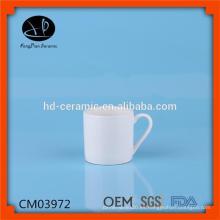 Taza de café en blanco blanco para la venta, tazas de cerámica llanas con diseño impreso de encargo