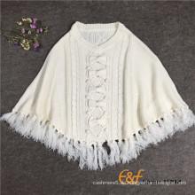 Damen Rundhals Quasten Weißer Pullover Cape mit Schleife