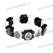 Hölzernes handgemachtes Schwarzes mit weißem katholischem Rosenkranz-Armband auf Elastik