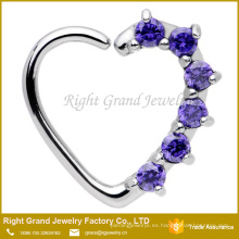 Purple Pink Clear Heart CZ Gems Cierre izquierdo Daith Cartilage Tragus Earring