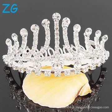 Fashion New Design Pequena pageant Pente, pente pequena tiara, pente de cabelo de cristal do casamento