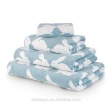 Hot vendas 100% algodão Jacquard Beijando Coelho Set toalha de banho, azul claro Atacado BtT-137 China Factory