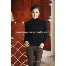 Frauen schwarze Kaschmirpullover Pullover für den Winter