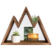 Wall Shelf Wood Floating Mountain Shelf Crystal Display Shelf Rustic
