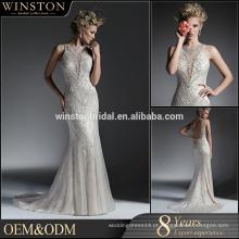 Elegante fabricante de alta qualidade pesado vestido de noiva novo vestido bordado