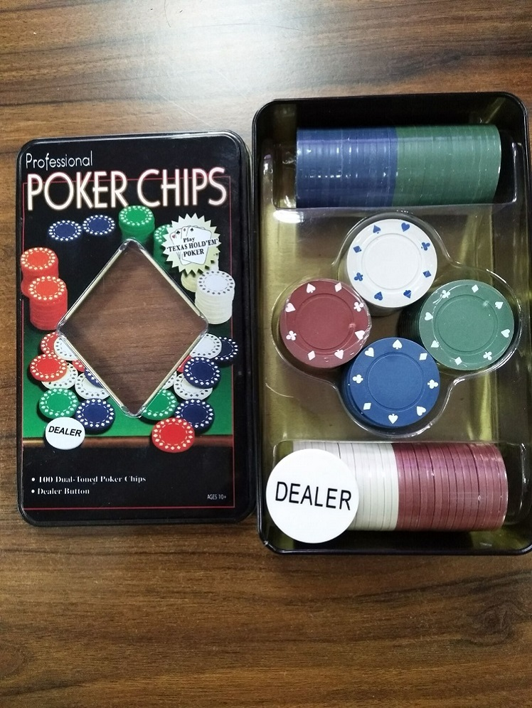 Poker Chips Game Set In Tin Box