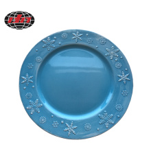 Snowflake Ceramic Style Plastic Charger Plate