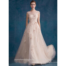 Alibaba Elegant Applique Long New Designer O Neck Nude Color Tulle Beach Evening Dresses Or Bridesmaid Dress LE20