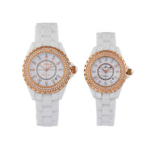 Sapphire Glass Ceramic Chronograph Watch For Man, Woman, Lover With Gold Ring Surface