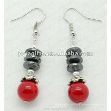Magnetische Hämatit Rote Koralle Perlen Ohrringe