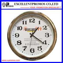 Kundenspezifische Logo-Druck-runde Plastiksilber-Rahmen-Wand-Taktgeber (Einzelteil23)