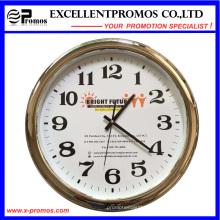 Custom Logo Printing Round Plastic Silver Frame Wall Clock (Item23)