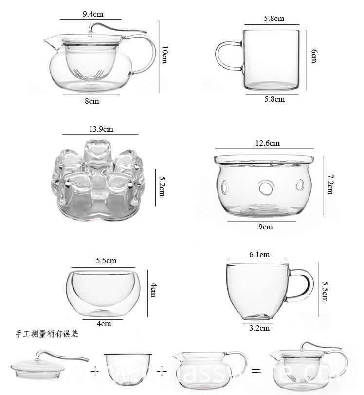 glass teapot sizes