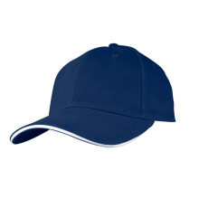 White Sandwich Long Bill Baseball Cap with Zipper Pocket