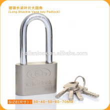 Никелированная длинная скоба железный замок с ключом