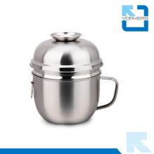 Copo de 2 colheres de aço inoxidável Snack Cup / Takeaway Food Bowl