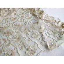 Ausgefallene 3D-Stickerei aus Polyester für Frauenkleider