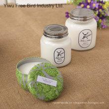 Color blanco y sí velas hechas a mano de soja natural hecha a mano