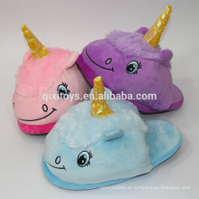 Design de animais de pelúcia interior de chinelos macios Unicorn