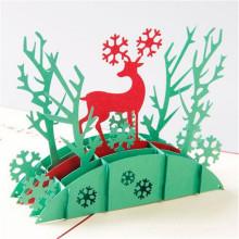 Papier de travail manuel de marque FQ pop up cadeau de Noël à la main carte de voeux de Noël 3d