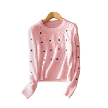 Cashmere sweater women pullover with embroidered stars