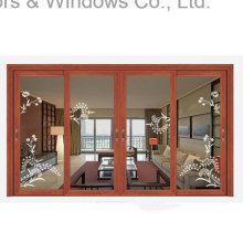 Thermal Break Aluminum Sliding Golden Oak Window (FT-W85)