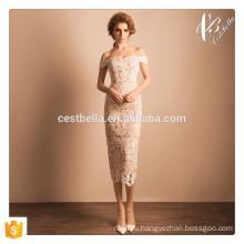 Cap рукавом платье розовый кружева формальное вечернее платье для элегантных дам в елках
