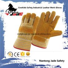9.5 Full Palm Industrial Safety Luvas de trabalho de couro de vaca amarela