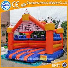 Castelo inflável do salto da laranja e do azul da alta qualidade, castelo inflável do salto à venda