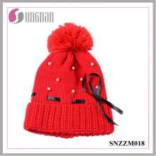 Warm Sweet Girls Pearl Bow Knit Hat Fur Ball Ribbon Wool Cap