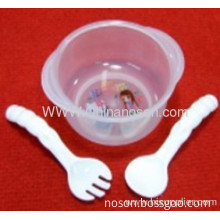 10.6x4.7x12.4cm Plastic Baby Set Baby Bowl With Fork And Spoon Fork Length 12.5 Cm