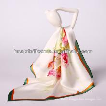 "34 ""x34"" plain flor impressão digital moda foulard soie"