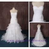 2015 Strapless Sweetheart A Line Bridal Dress with Beautiful Pleat