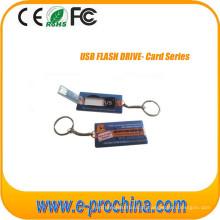 Movimentação magro do flash de USB do cartão de crédito com impressão a cores completa para Freesample