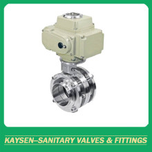 DIN Hygienic 3-Piece Butterfly Valve Electric Actuator Weld