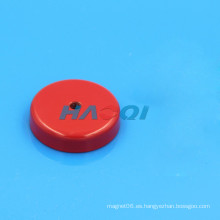 Imán redondo de cerámica envuelto en rojo con agujero