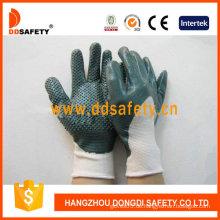 Weißes Nylon mit grünem Nitril-Handschuh-Dnn423