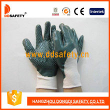 White Nylon with Green Nitrile Glove-Dnn423