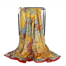 Мода печати шифон рекламный шарф квадратный шарф