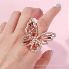 Factory Wholesale Creative Hollow-out Stereo Set Diamond Butterfly Ring Color Diamond Jewelry