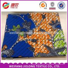 color azul y naranja con impresión de flores verdadero bloque de cera impresiones de tela