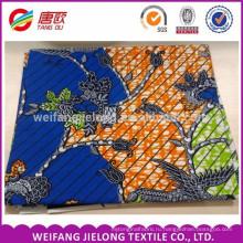 синий и оранжевый цвет с цветок печати настоящий воск блок печатает ткань