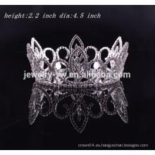 Corona redonda del rhinestone de los accesorios del pelo de la boda de la tiara nupcial