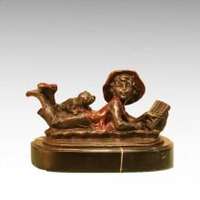 Niños Figura Estatua Lectura Chico Chica Escultura De Bronce TPE-932/933