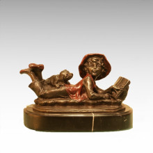Kids Figure Statue Reading Boy Girl Bronze Sculpture TPE-932/933